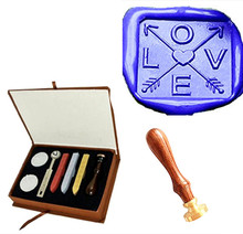 Square Love Heart Cross Arrow Custom Vintage Picture Wedding Invitation Wax Seal Sealing Stamp Handle Box Set Kit