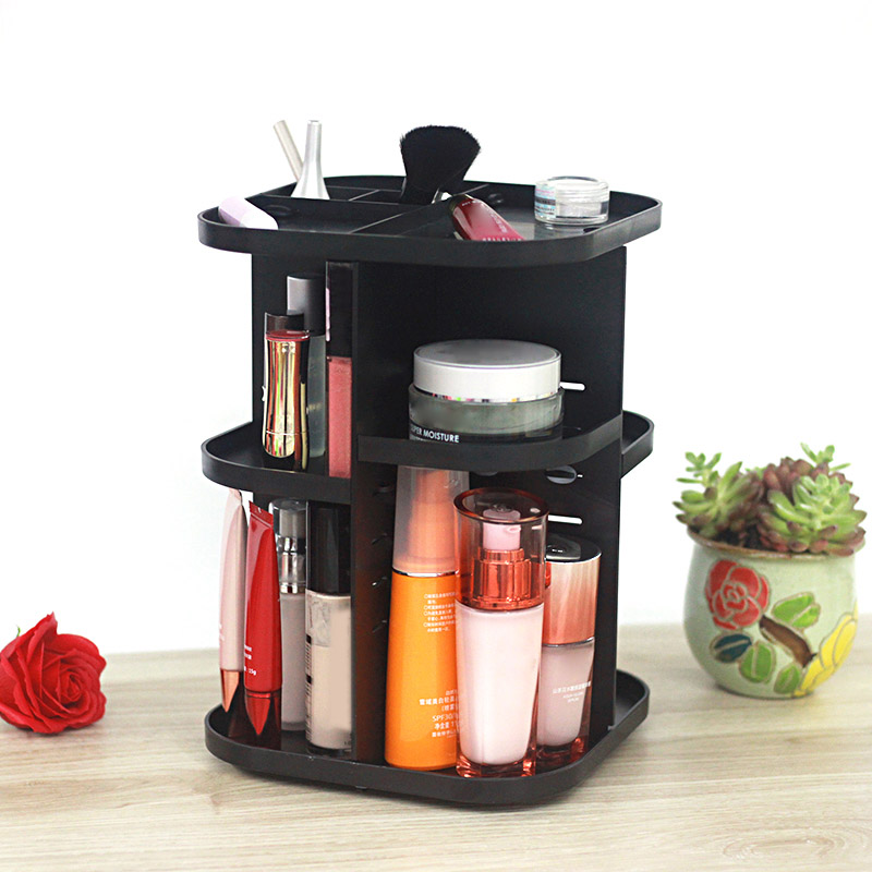 High Q 360 Rotating Makeup Organizer Shelf for Cosmetic Brushes Lipstick Large Capacity Storage Rack for Bathroom Vanity 88 XH8Z