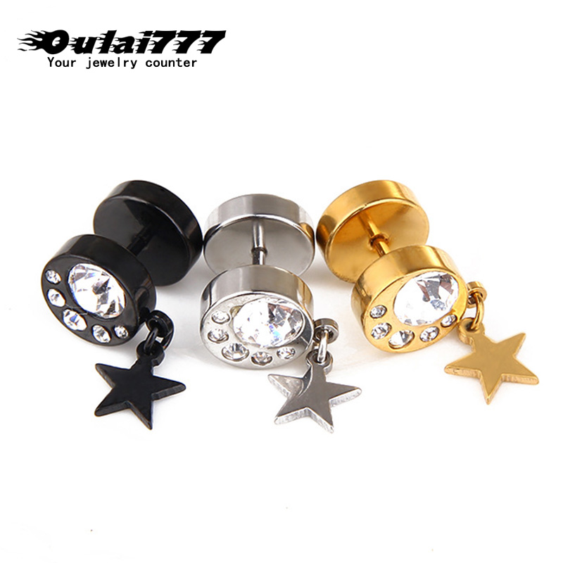 oulai777 wholesale stainless steel punk womens earring personality women\x27s earrings 2019 Pentagram Gold black silver