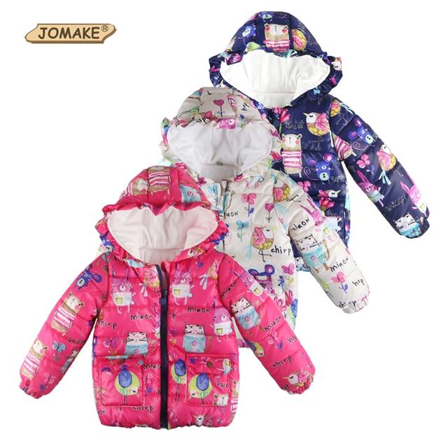 Meninas de inverno Casacos & Coats Meninos Parkas Com Capuz de Graffiti Bonito Animais Dos Desenhos Animados Crianças Roupas de Bebê Outerwear Menina Crianças Jaquetas