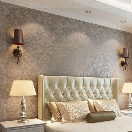 Home Decor European High Quality Luxurious Metallic Brown Damask Non Woven Wallpaper Living Room Tv Background