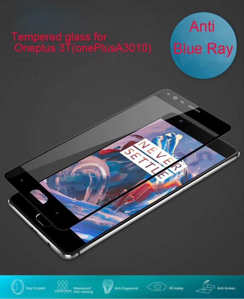 imágenes para Vidrio Templado Anti Blue Ray para Oneplus 3 (A3000) 3 T (A3010) Luz Azul Resistente 9 H 2.5D 0.26mm Protector de pantalla Paquete Al Por Menor
