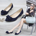 2015 spring thick heel shallow mouth bow pointed toe low-heeled shoes black women's plus size shoes