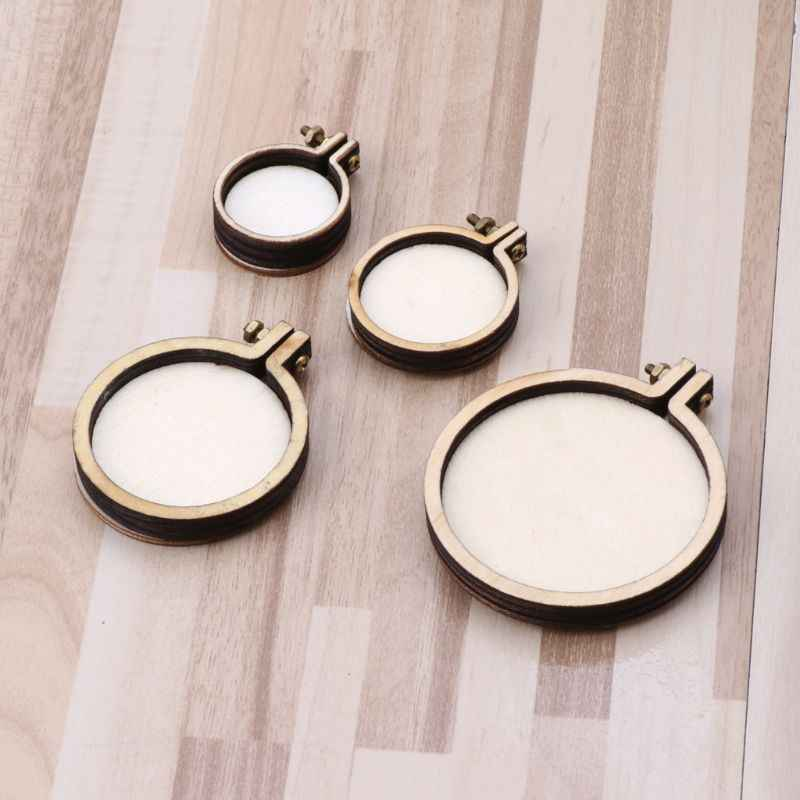 DIY Wooden Cross Stitch Hoop Mini Ring Embroidery Circle Kit Frame Craft