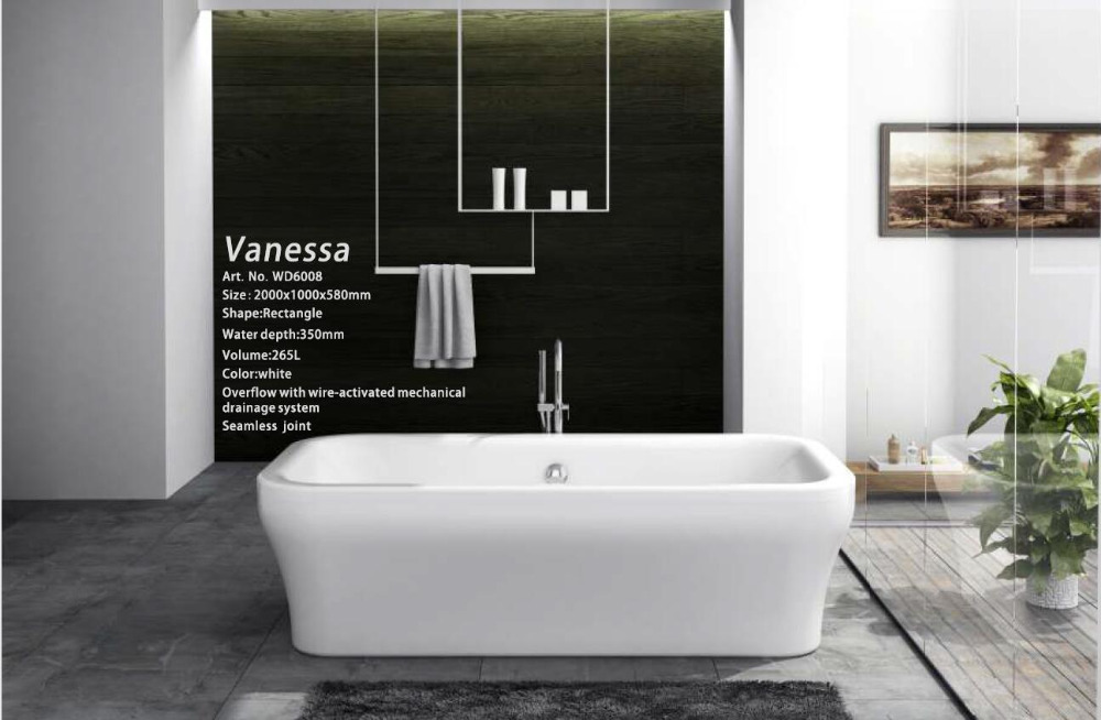 все цены на 67' Sea Shipping freestanding bathtub and acrylic +ABS composite board soaking Hot tub W8030 онлайн