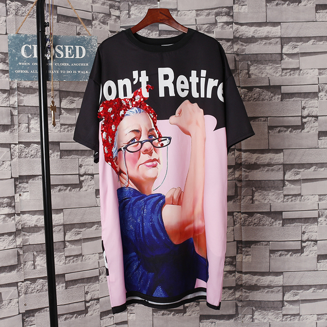 a8ab08e609e Women Punk Design Cartoon Printed Tee Dress Plus Size Sequins Round Neck  Tops Loose Dress Short Sleeve Novelty Casual Dresses
