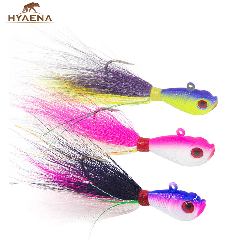 Hyaena 3pcs/set jig head 7g/14g/28g/42g/56g lead head jigging with feather fishing wobblers fishing lures with hooks