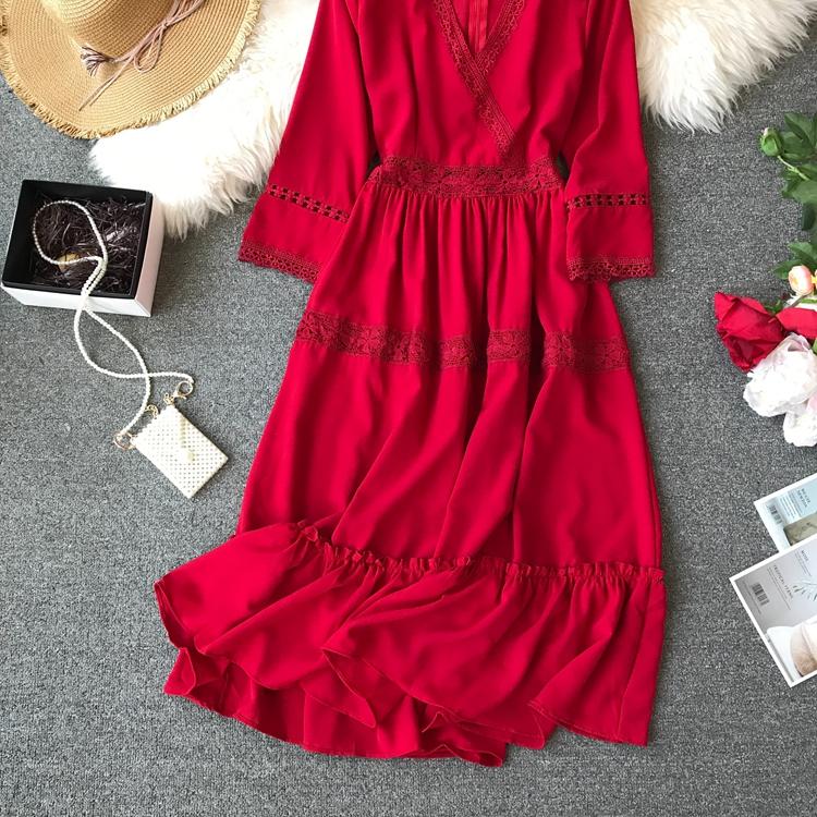 Women Bohemian Dress Lady Half Sleeve V Neck Red and White Beach Holiday Elegant Vestidos E152 19