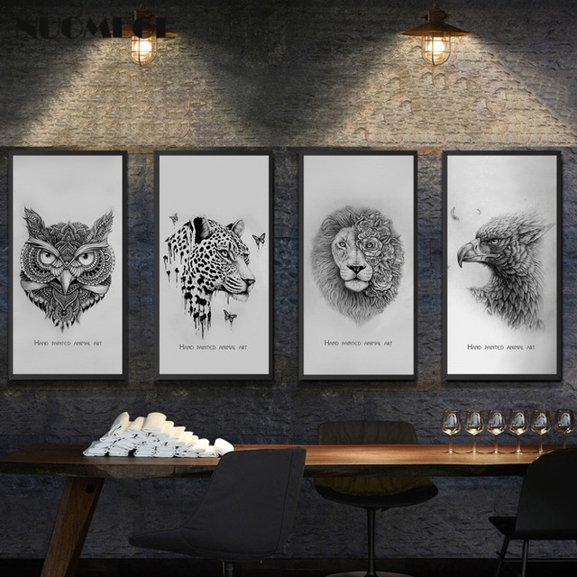 Abstract and Creative Hand drawn Line Poster Print Animal Lion ...