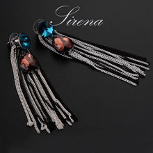 expensive large earrings white gold blue red 4 colors luxury jewelry great jewellery high quality big drop earring for women Big Luxury Korean Earrings for Women Long Tassel Statement Earring Fashion Jewelry Austrian Crystal High Quality