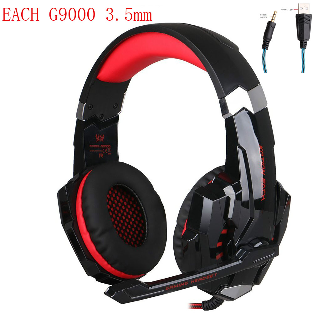 KOTION EACH G9000 3.5mm Stereo Gaming Headset Game Headphones Earphones Audifonos Mic LED Light for Mobile Phones PS4 PC Gamer kotion each g9000 7 1 surround sound gaming headphone game stereo headset with mic led light headband for ps4 pc tablet phone