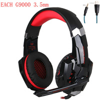 KOTION EACH G9000 3.5mm Stereo Gaming Headset Game Headphones Earphones Audifonos Mic LED Light for Mobile Phones PS4 PC Gamer
