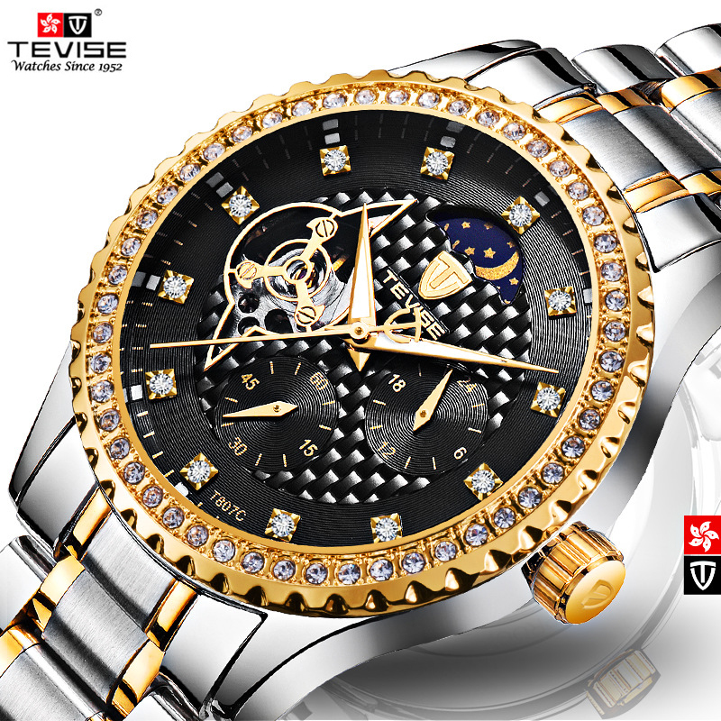TEVISE relogio Moon Phase Tourbillon Watch Men Mechanical Watches Automatic Watch Clock Men Luxury Diamond Waterproof Wristwatch 2017 men watches luxury top brand sekaro sport mechanical watch gold clock men tourbillon automatic wristwatch with moon phase