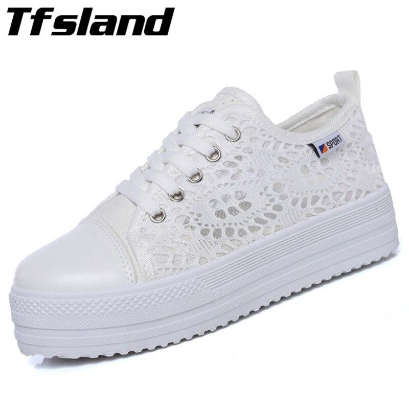 Tfsland Sommer Kvinners Myke Kant Sko Sko Hele Blomster Pustende Platform Flat Sko Sneakers Løpesko Sapato Feminino
