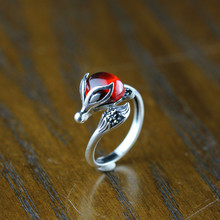 Silver jewelry fashion boutique pomegranate red fox Ladies Ring