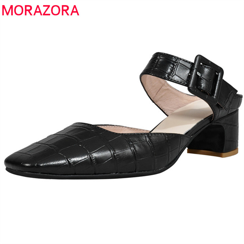 MORAZORA 2019 top quality genuine leather mules shoes woman square toe buckle party prom shoes fashion simple women pumps MORAZORA 2019 top quality genuine leather mules shoes woman square toe buckle party prom shoes fashion simple women pumps