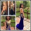 Elegante 2016 Longo Vestido de Baile Preto E Dourado Sexy Ver através Voltar Sexy Lantejoula Azul Royal Sereia Formal Pageant Evening vestidos
