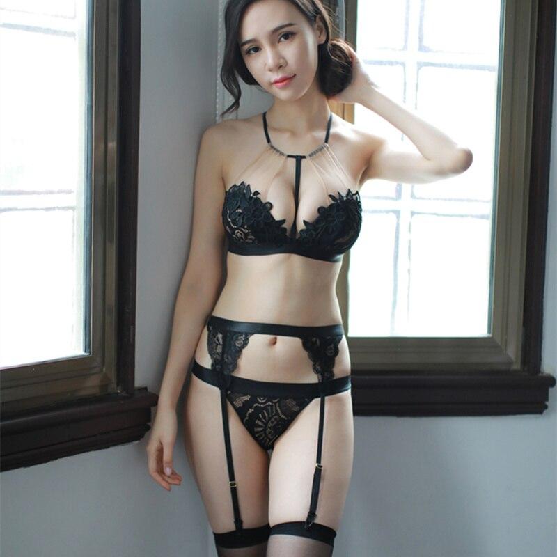 Yhotmeng sexy ultra-thin deep v hanging neck bra sets transparent embroidered mesh lingerie women lace bra set vs garter belt