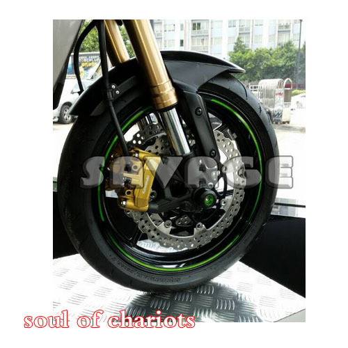CNC Front Axle Fork Crash Sliders Cap Wheel Protector For KAWASAKI Z800 2013-2014