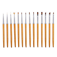 Women Fashion professional 14pcs/set UV Gel Acrylic Nail Art Brush Drawing Drill Pen Builder Nail Art Tools Drop Shipping 3M29