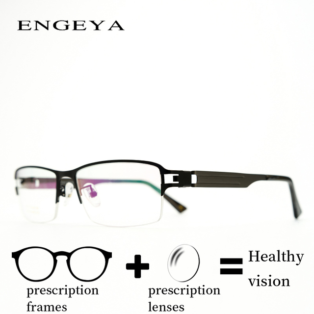 18e5bacfa6f Metal Prescription Spectacles Men fashion Diopter Minus Blue Ray Light  Transition Progressive Glasses Spring Hinge  IP225