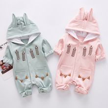 VTOM Autumn New Fashion Baby Rompers Newborn Cartoon Long-sleeved Jumpsuits Children Hooded Clothes For Boys And Girls