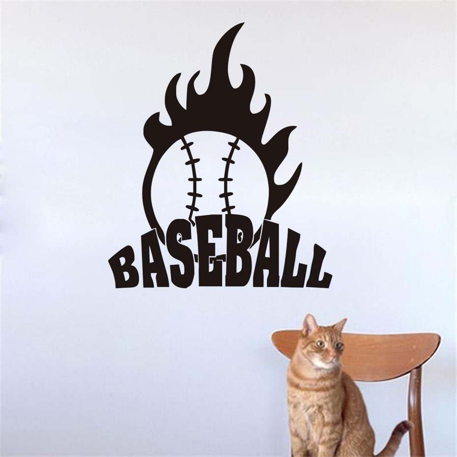 DCTOP Sports Baseball Wall Decal Home Decor Vinyl Art Wall Stickers For Living Room Waterproof Self Adhesive Diy Accessories