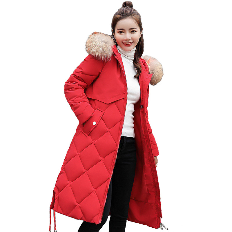 Winter down cotton jacket women   parkas   long coat fashion Fur collar Hooded tops female Plus size Thick warm Cotton-padded jacket
