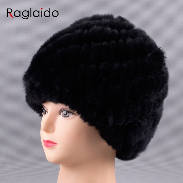 fedd0c9c701 Raglaido Rabbit Hats for Women Beanies Real Fur Rex Rabbit Fur Hat Russian  women wind snow caps elastic for head 55-60cm LQ11234