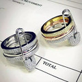 Designer Fashion 925 Sterling Silver Jewelry Platinum/3Tone Plated 3A Cubic Zirconia Party 3Pcs Ring