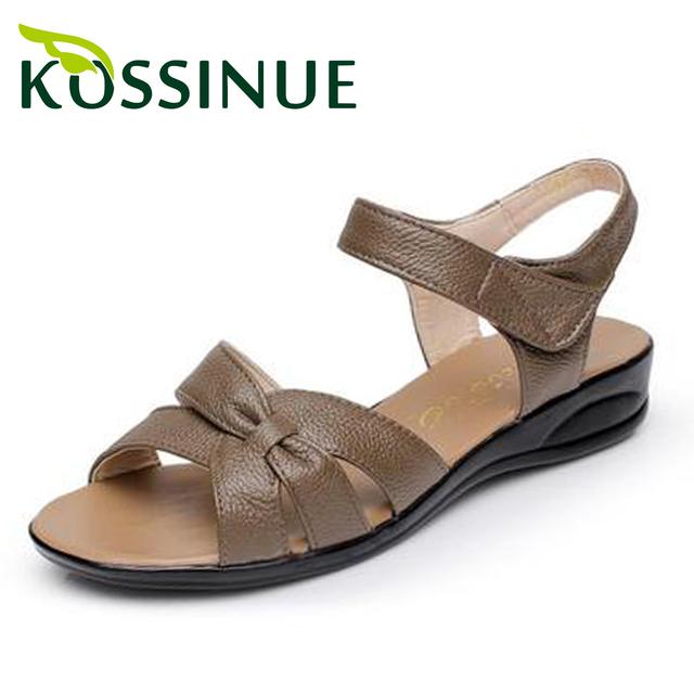 Plus size (32-43) sandálias de verão para as mulheres 2015 sapatos de couro genuíno mãe plana sapatos maternidade plana enfermeira sapatos mulheres sandália
