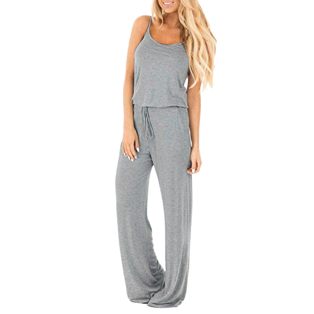 New Arrival Women Bodysuit Sleeveless Jumpsuit Ladies Casual Loose Playsuit Long Trousers Jumpsuit 2019 Body Femme#BY35