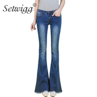 SETWIGG Womens Autumn Blue Denim Flared Jeans Pants Zipper Stretch Skinny Big Flare Trousers Jeans For