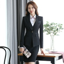 Female Spring and Autumn business suit Long sleeves stripe pants jacket Two pieces OL business suit