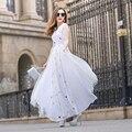 2017 Весной и Летом Моды Марля Вышивка Three Четверти Рукав Dress O-образным Вырезом Элегантный Чешские Ультра Длинные Богиня Платья