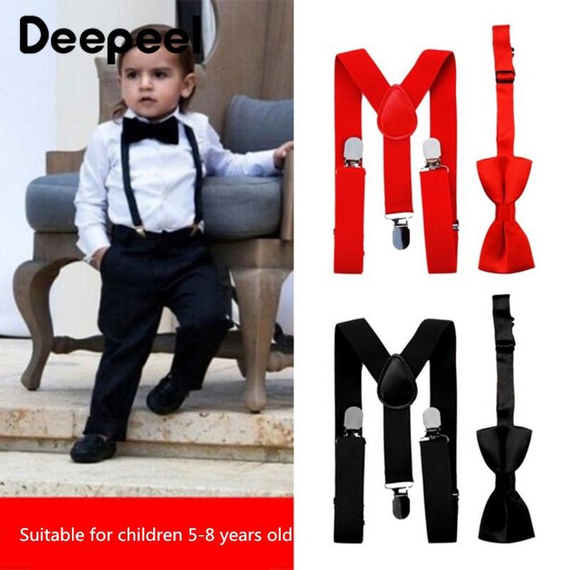 Deepeel 2pc 2.5*65cm Kids Elastic Suspenders Unisex Bow Set 3 Clip Adjustable Y Type Strap Suitable For Children 5-8 Years Old