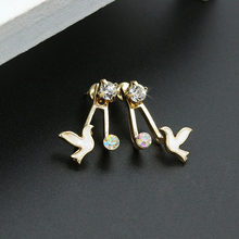 Blue Black Pink White Solid Colors Birds Crystal Animal Stud Earrings for Women piercing Jewelry(China)