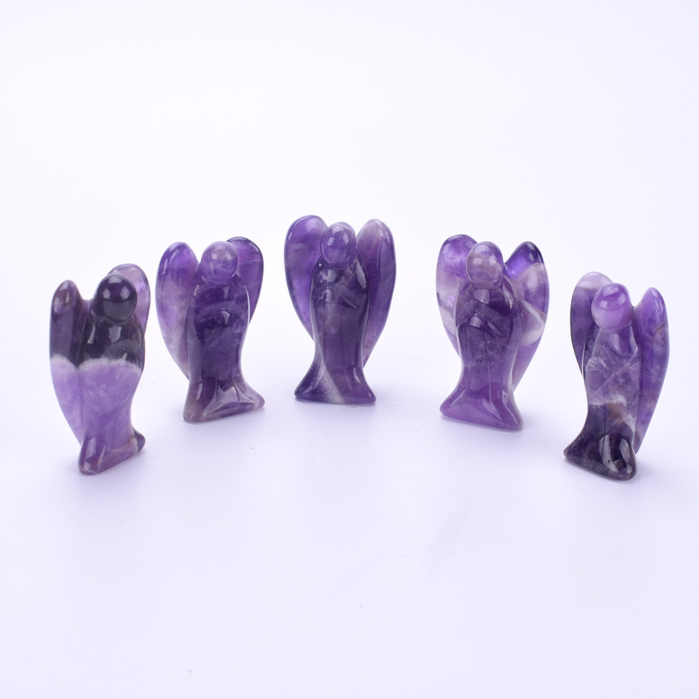1 Pc Natural Amethyst Angel Purple Quartz Crystal Angel Figurine Carved Gemstone Craft Healing Stone Decorative Statues For Home