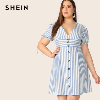 SHEIN Plus Size Blue Deep V Neck Button Front Tied Cuff Striped Dress Women 2019 Summer A Line Boho High Waist Plus Size Dress