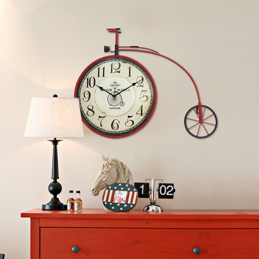Bicycle Wheel Wall Clock Creative Big Size Large Decorative Wall Clocks Wandklok Watch Wall Decorations Living Room Ornament5577 in Wall Clocks from Home Garden