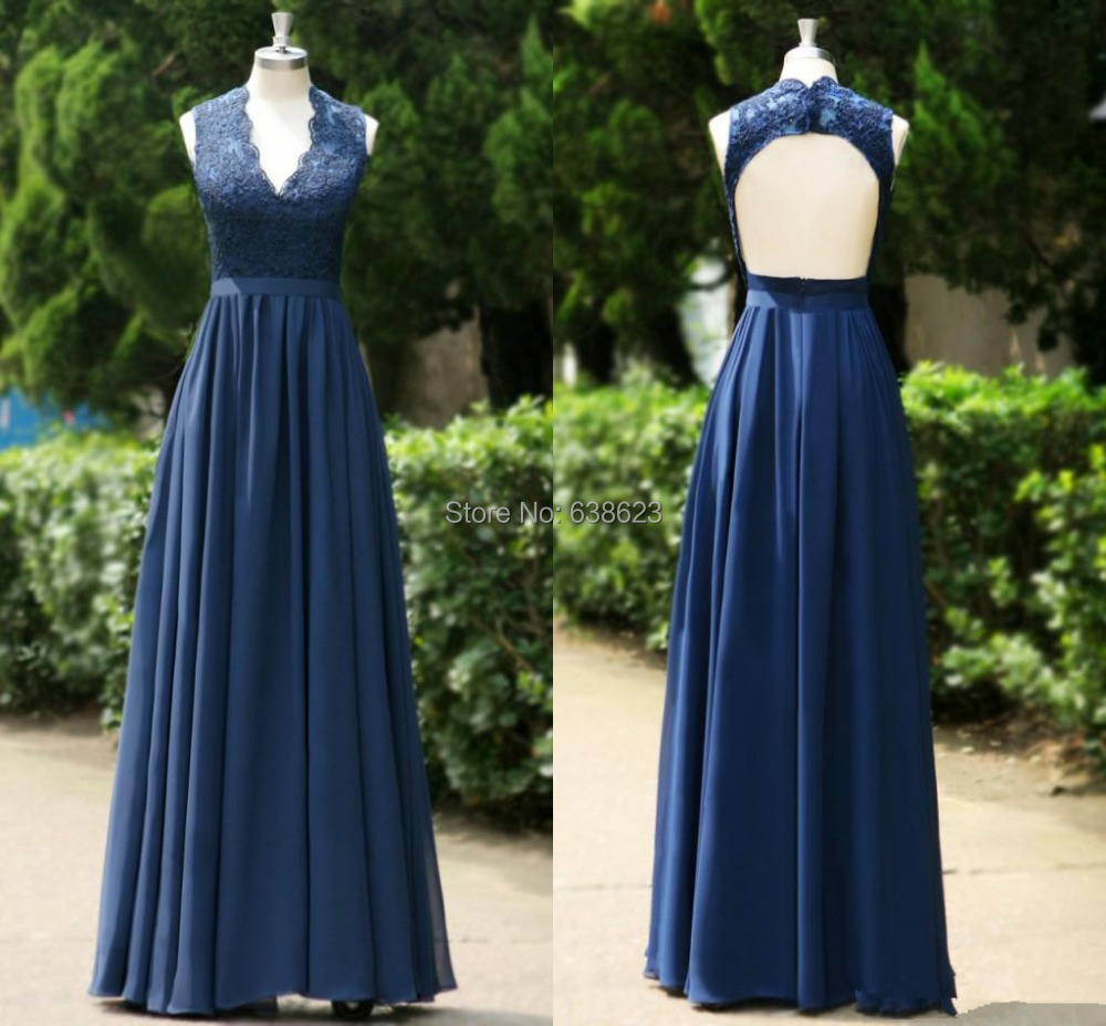 Dab2796 Navy Blue V Neck Lace A Line Formal Long Backless Prom Dress Convertible Bridesmaid Dresses In From Weddings Events On