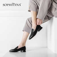 SOPHITINA Brand Women's Pumps Casual New Spring Comfortable Handmade Genuine Leather Shoes Slip-on Fashion Sewing Pumps SO120