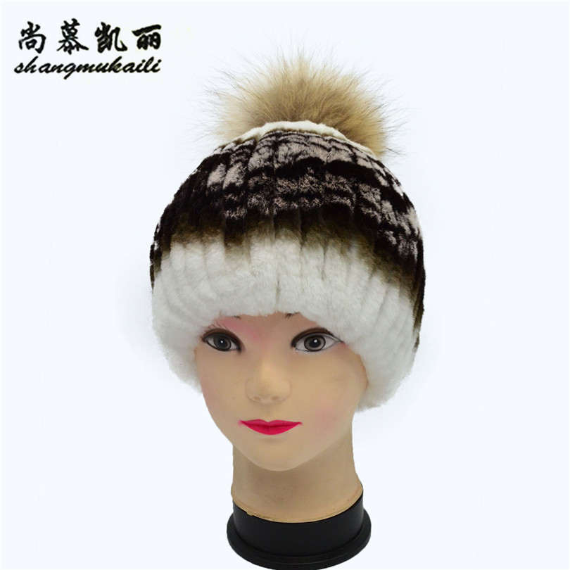 2017 winter beanies hat unisex knitted rex fur Skullies casual cap with real fox fur pompom solid colors ski cap Knitted Hats skullies