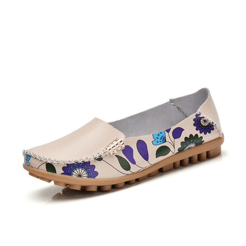 Spring summer women causal genuine leather shoes slip on ballet women flats print woman shoes moccasins loafers shoes