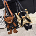 Women Shoulder Bags Cartoon Cute Bear Fashion Girls Bags Casual Tote Bags Gold Silver Black Preppy Style Big Capacity Travel Bag