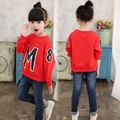 Girls Sweatshirt Letter Pattern Fashion Active Long Sleeve T Shirts Casual Girls Costume Teenage Children Autumn Spring Clothes