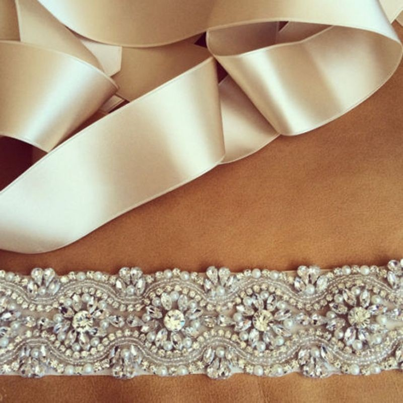 Luxury-Elegant-Women-Crystal-Rhinestones-Sash-Belt-Wedding-Bridal-Sash-Pearl-Beading-Handmade