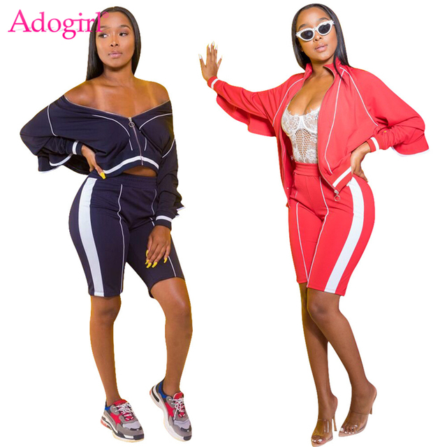 Adogirl Color Patchwork Women Tracksuit Zipper Up Long Sleeve Bomber Jacket Top + Shorts Casual Two Piece Set Sporting Outfits
