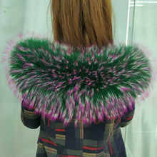 winter new real super big raccoon colorful stars hair collar one hair three colors