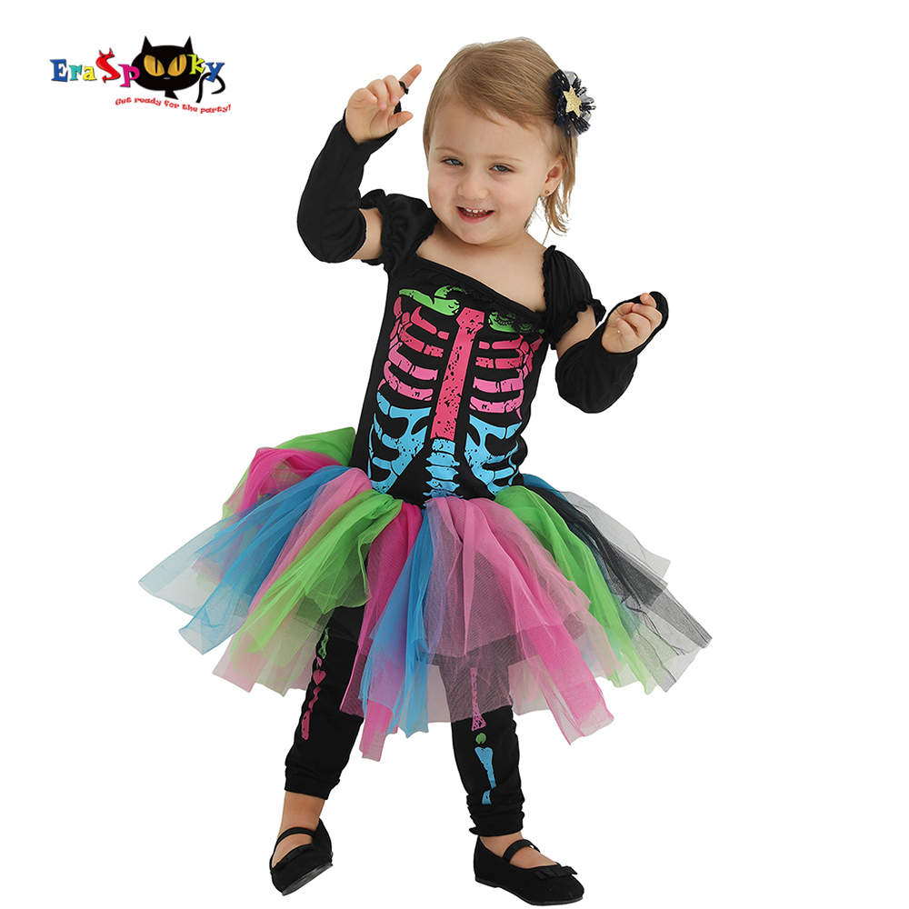 Scary Baby Girl Halloween Costumes.Us 15 68 40 Off Eraspooky 2 4t Carnival Toddler Skeleton Tutu Dress Scary Halloween Costume For Kids Baby Gilrs Infant Bone Cosplay Outfit Set In